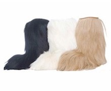 Long furry boots will keep your feet warm.